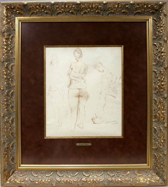 062004: RAPHAEL SOYER, WATERCOLOR ON PAPER, FEMALE