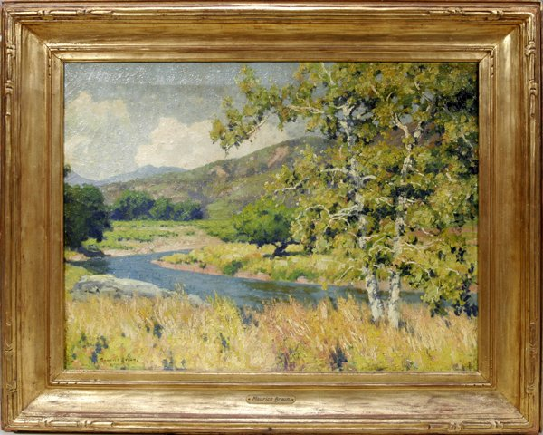 062012: MAURICE BRAUN, OIL ON CANVAS, HILLY LANDSCAPE