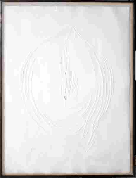"062015: LUCIO FONTANA, PUNCTURED EMBOSSING, ""BIANCO"""