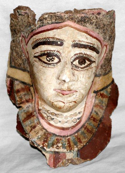 062303: EGYPTIAN CLAY CHILD'S MUMMY MASK