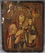 062512 RUSSIAN ICON ON WOOD PANEL MADONNA  CHILD