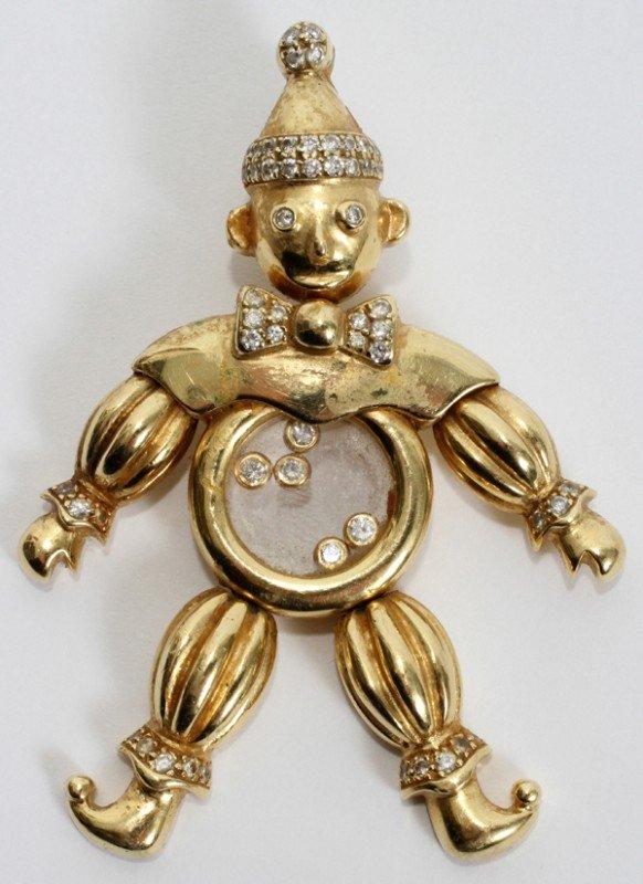 020012: 18 KT YELLOW GOLD CLOWN FORM PENDANT W/DIAMONDS