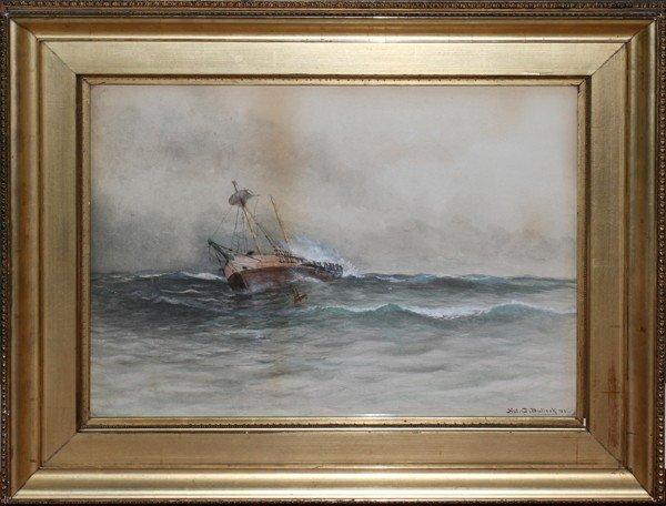 """020026: NAT. C. BULLOCK WATERCOLOR, 1891, 18"""" X 25"""","""
