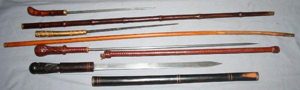 020158: ANTIQUE CANE SWORDS, THREE