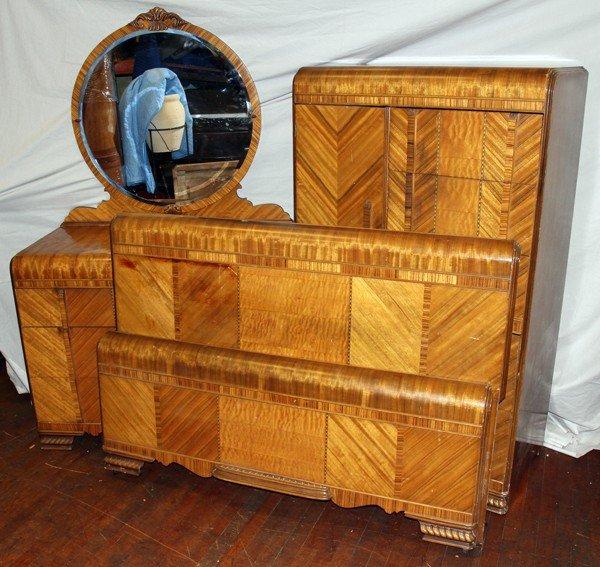 Waterfall Bedroom Suite Part - 31: 020378: ART DECO WATERFALL FRONT BEDROOM SUITE, 4 PCS
