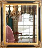 020386 GILT WOOD FRAME AND BEVEL GLASS WALL MIRROR