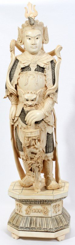 020002: CHINESE CARVED IVORY FIGURE OF A WARRIOR,