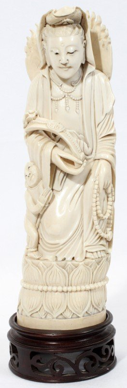 """020005: CHINESE CARVED IVORY QUAN YIN, H 10"""", L 3"""""""
