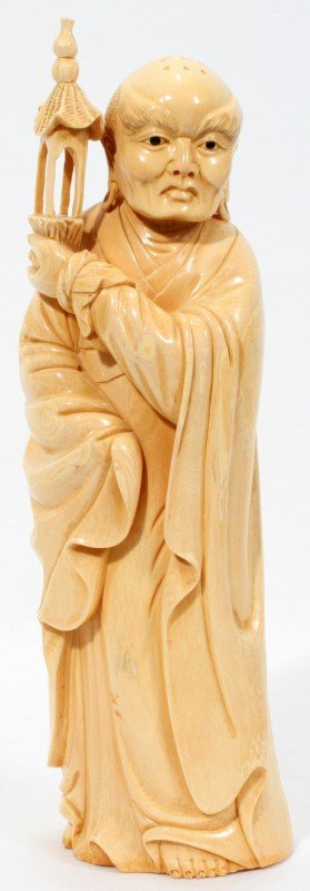 """020006: CHINESE CARVED IVORY FIGURE, H 10"""""""