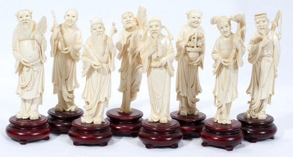 020008: CHINESE CARVED IVORY FIGURES, SET OF EIGHT,