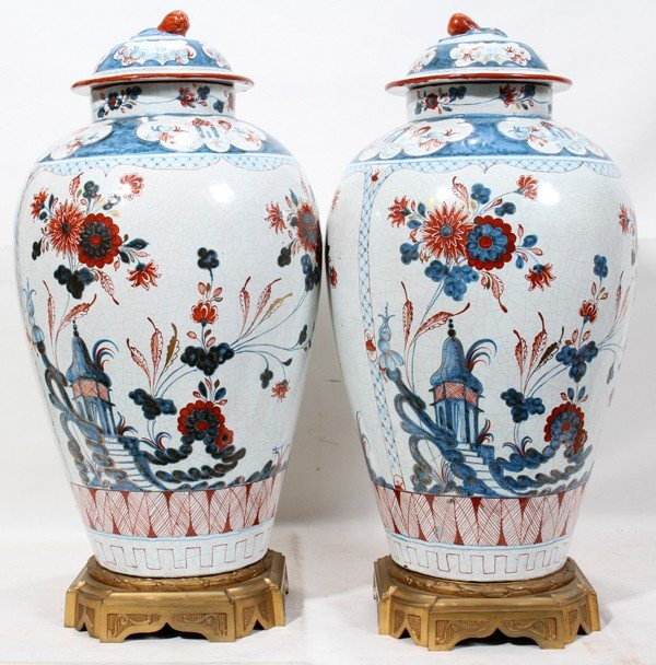 021007: DUTCH FAIENCE STYLE GINGER JARS, PAIR, H 21""