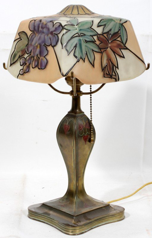 "021010: PAIRPOINT BOUDOIR LAMP, H 16"", REVERSE-PAINTED"