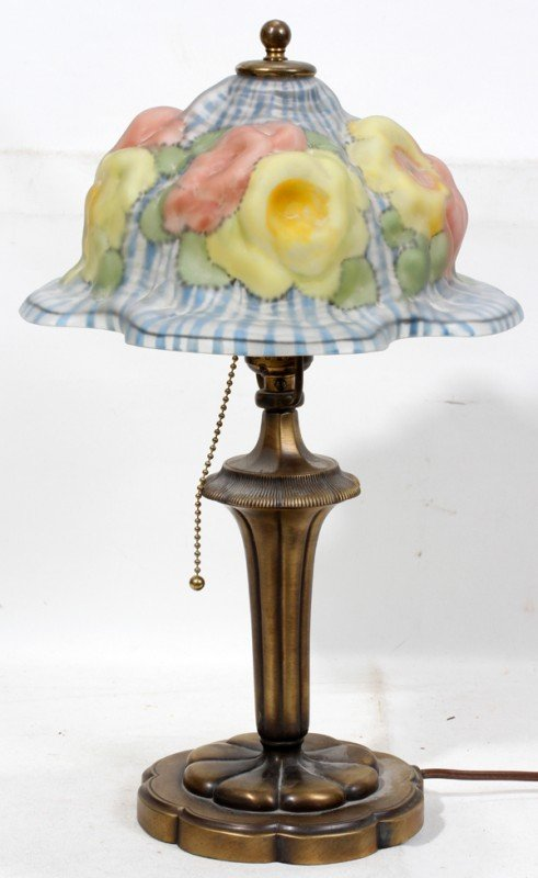 "021011: PAIRPOINT PUFFY LAMP SHADE, ROSE MOTIF, W 10"","