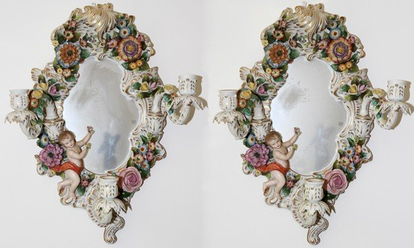 021015: DRESDEN PORCELAIN MIRRORED SCONCES, PAIR,