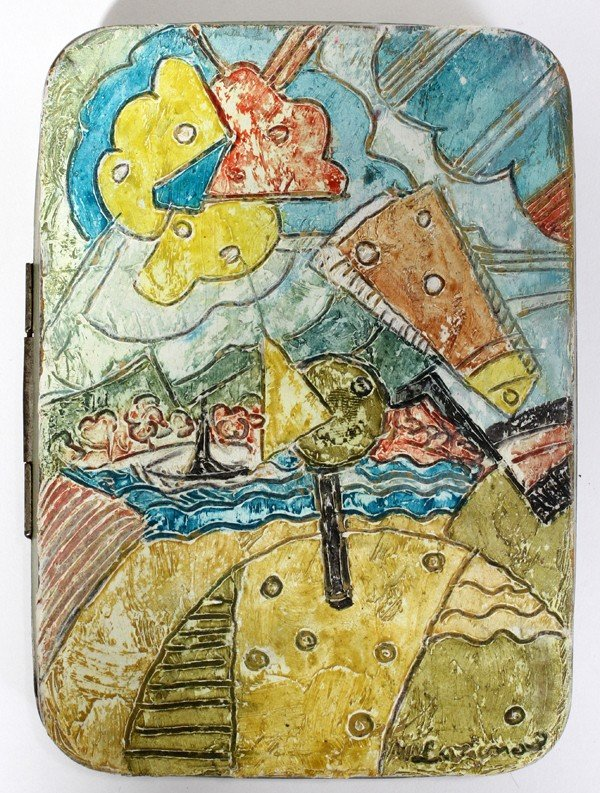 "022003: MIKHAIL LARIONOV, OIL LANDSCAPE ON TIN BOX 5"""