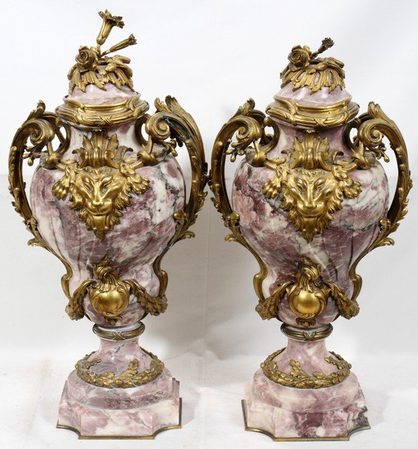 022018: FRENCH MID 19TH C. DORE BRONZE & COVERED URNS