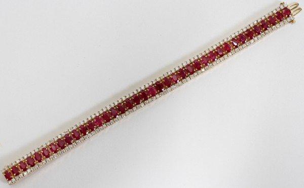 022022: 19CT BURMESE RUBY & 6 CT DIAMOND BRACELET