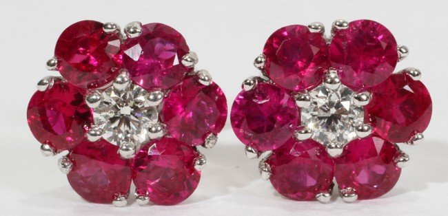 030001: 3.18CT. RUBY & 0.33CT. DIAMOND CLUSTER EARRINGS