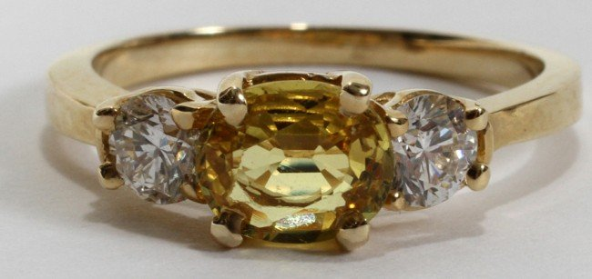 030002: 1 CT. YELLOW SAPPHIRE & 0.50 CT. DIAMOND RING
