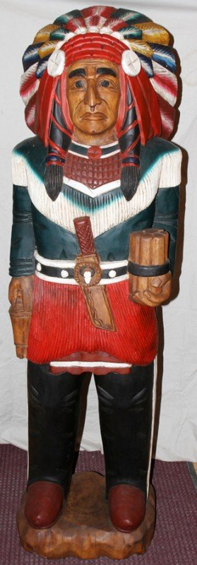 030011: CARVED & POLYCHROME WOOD CIGAR STORE INDIAN,