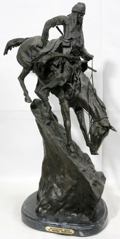 030013: AFTER FREDERIC REMINGTON, BRONZE SCULPTURE,