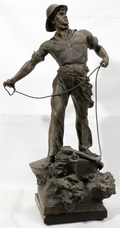 "030015: AFTER ARTHUR WAAGEN, SPELTER SCULPTURE, H 30"","