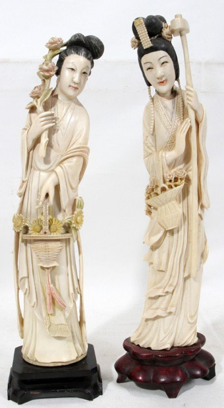 030017: CHINESE CARVED IVORY FEMALE FIGURES 20TH C, TWO