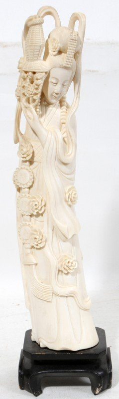 030018: CHINESE CARVED IVORY FEMALE FIGURE, 20 TH C,