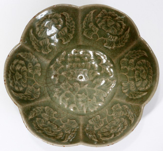 "030021: CHINESE GREEN PORCELAIN BOWL, H 1 1/2"","