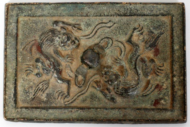 030022: CHINESE DRAGON STYLE BRONZE RECTANGULAR MIRROR