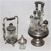 030345 SILVER PLATE AND GLASS CRUET SET H 16