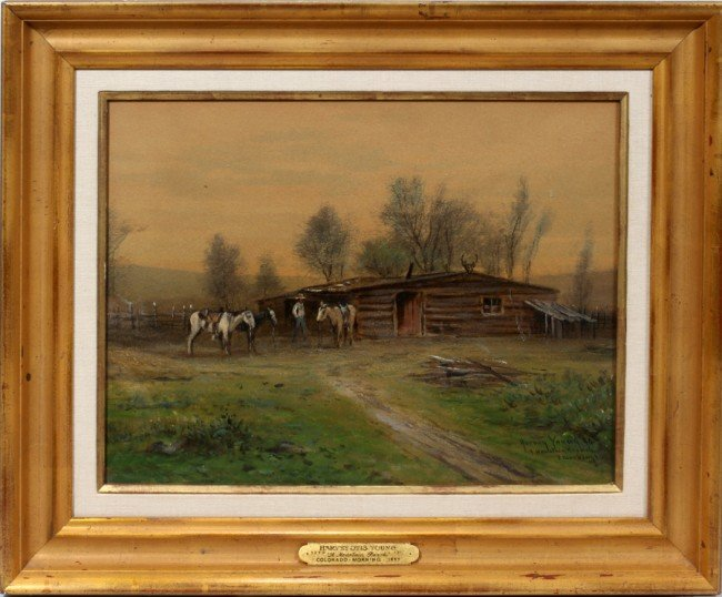 """032008: HARVEY OTIS YOUNG OIL AND WATERCOLOR, 14"""" X 19"""""""
