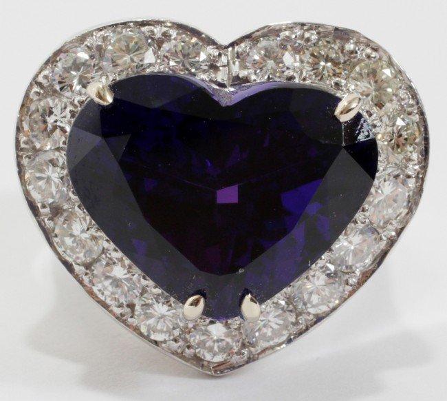 032023: 17.07 CT. HEART TANZANITE & DIAMOND RING