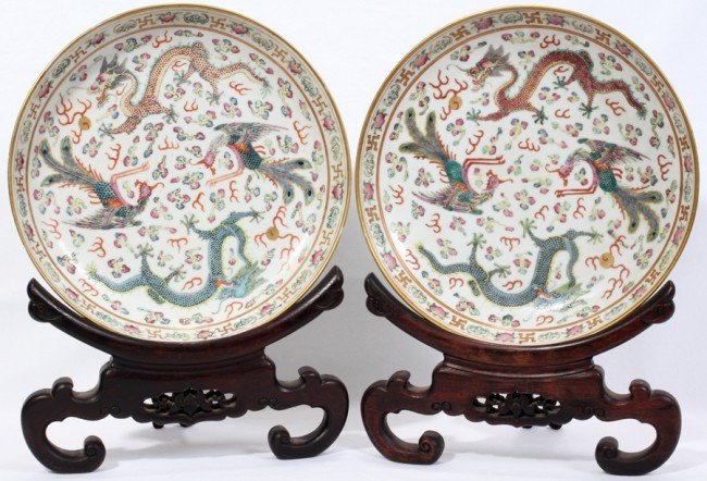031012: CHINESE DRAGON AND PHOENIX PORCELAIN DISHES,
