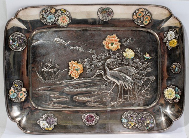 031013: JAPANESE ENAMELED SILVER TRAY, LATE 19TH C.,