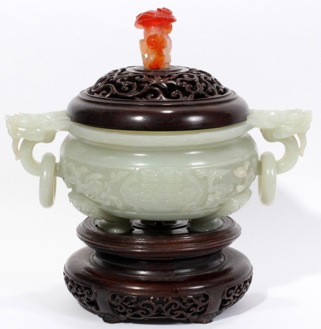 031014: CHINESE JADE CENSER WITH WOOD COVER, H 6 1/2""