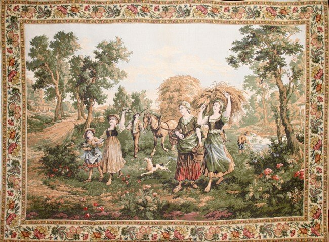 """031175: FRENCH WOVEN TAPESTRY, C. 1950, 46"""" X 63"""""""