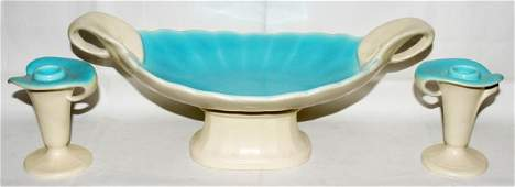 031378 ROOKWOOD POTTERY CONSOLE BOWL  CANDLESTICKS