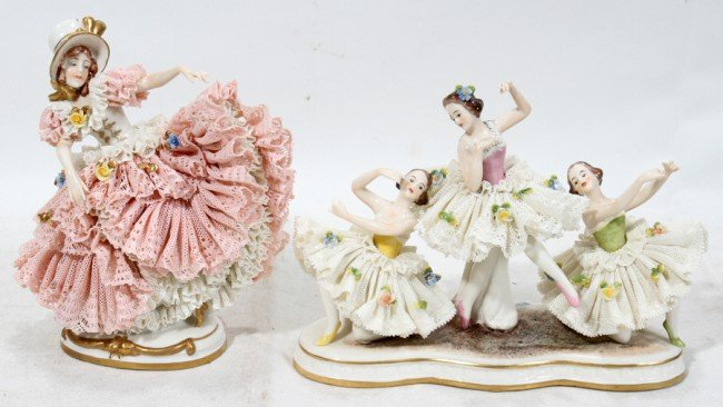 031392: DRESDEN PORCELAIN LACY BALLERINAS, TWO,