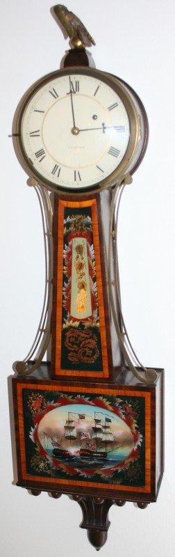 """040004: FEDERAL STYLE MAHOGANY BANJO CLOCK, H 38"""" W 11"""""""