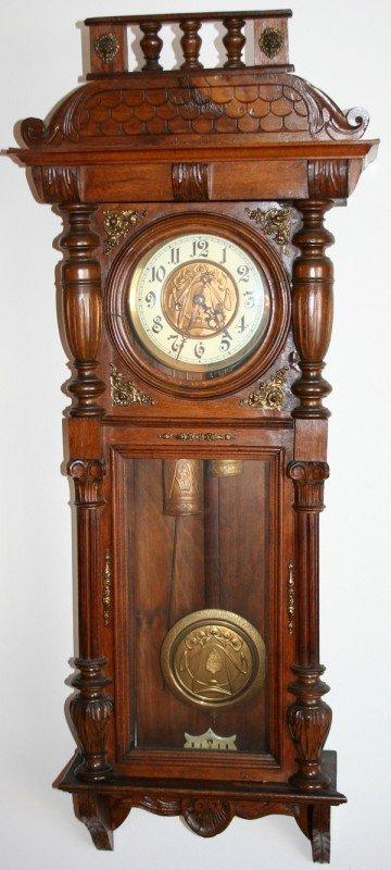 040006: VIENNESE TWO-WEIGHT WALNUT WALL CLOCK, C1880,