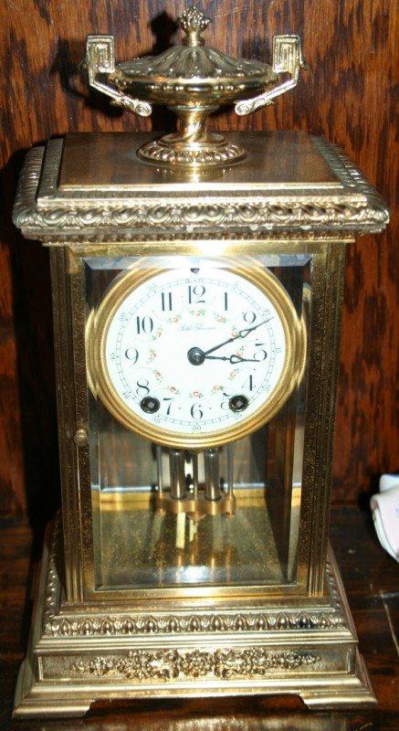 040007: SETH THOMAS GILT METAL MANTLE CLOCK, C.1900,