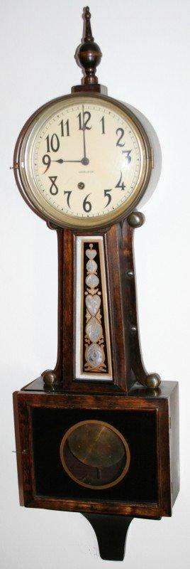 """040008: INGRAHAM BANJO WALL CLOCK, C.1880, H 38"""", W 10"""""""