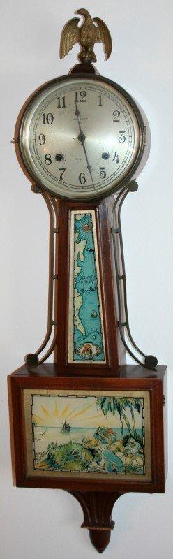 040009: INGRAHAM FEDERAL STYLE, MAHOGANY BANJO CLOCK,