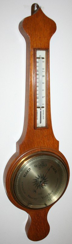 040010: DAVIS LEEDS, OAK BAROMETER/THERMOMETER, C.1870