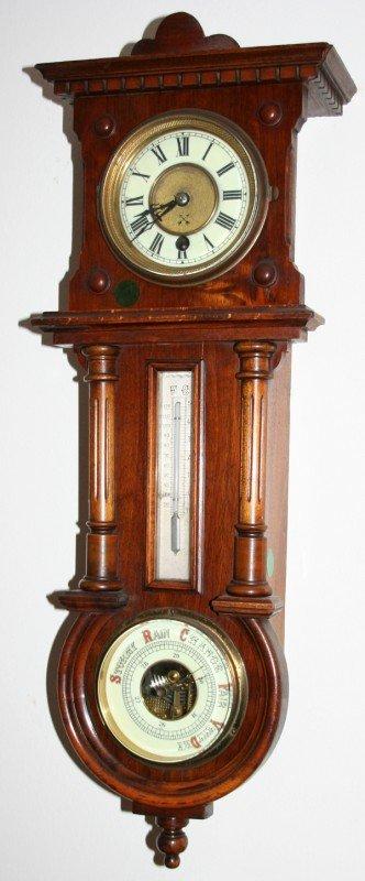 040013: HAMBURG-AMERICA CLOCK CO. WALL CLOCK/BAROMETER