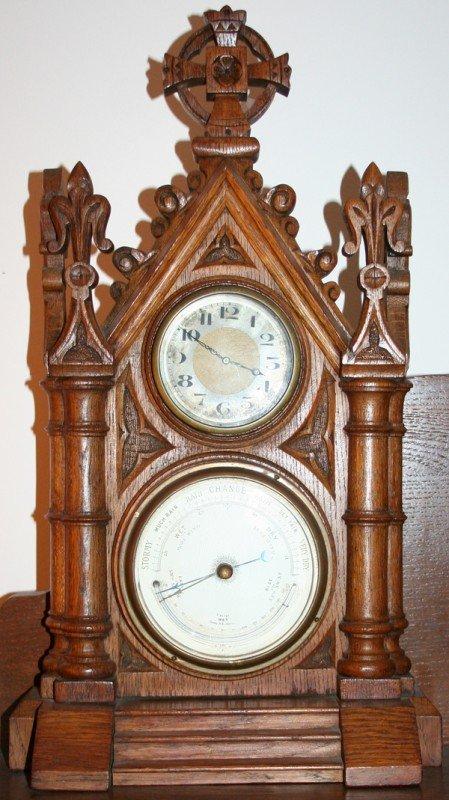 040014: GOTHIC STYLE, OAK WALL CLOCK & BAROMETER C.1920
