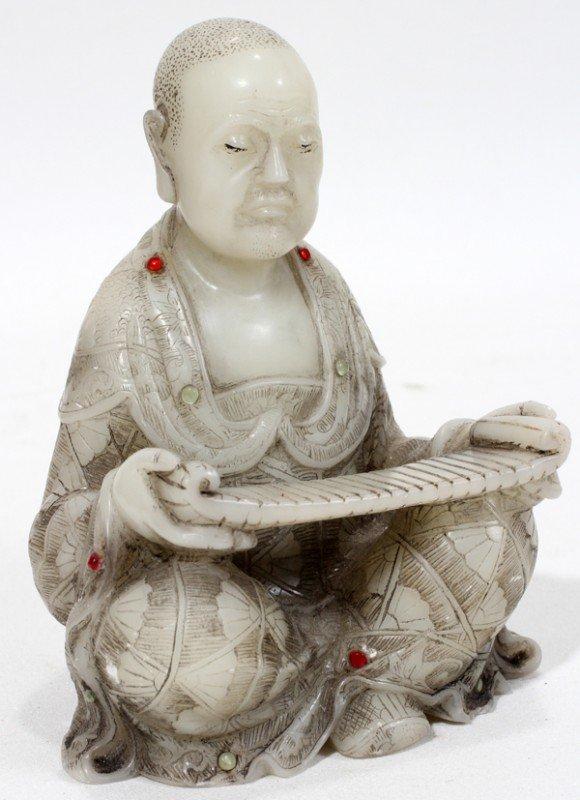 "040018: CHINESE HARDSTONE SEATED BUDDHA, H 4"", L 3"""