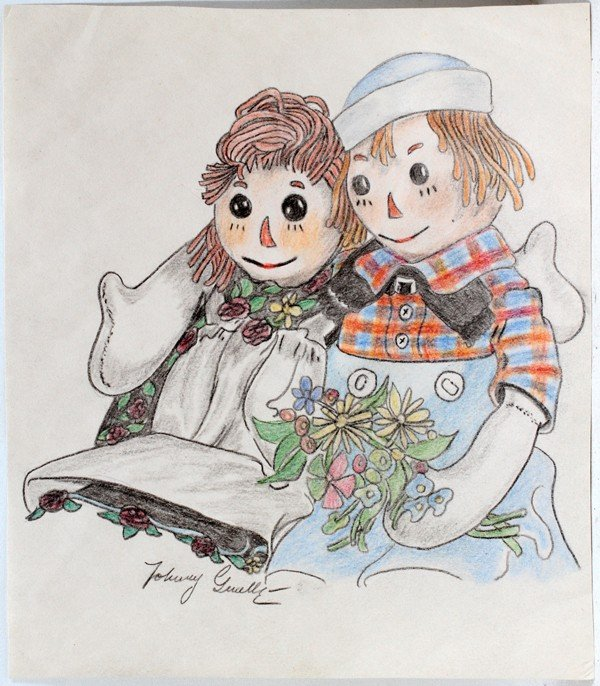 040023: JOHNNY GRUELLE PASTEL AND PENCIL, RAGGEDY ANN