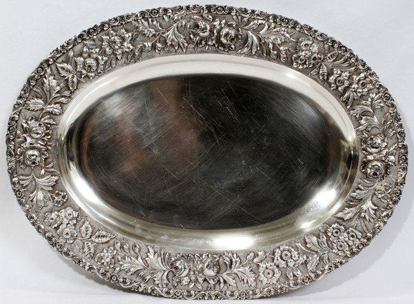 041004: JACOBI & CO. REPOUSSE STERLING OVAL PLATTER,